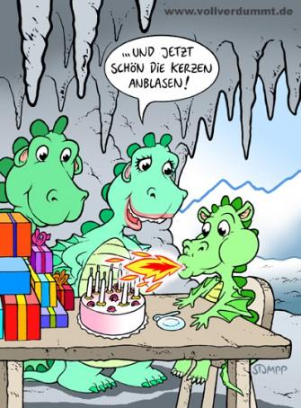 CARTOON Drachen-Geburtstag