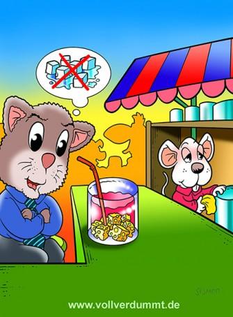 CARTOON Barkeeper-Maus serviert Katze Drink