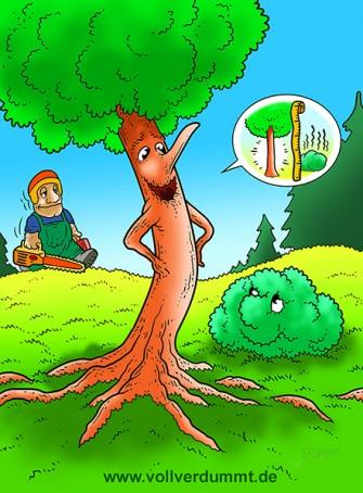 CARTOON Baum prahlt vor Busch