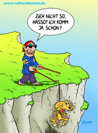 CARTOON Blinder mit Hund