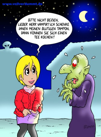 CARTOON Blondine und Vampir