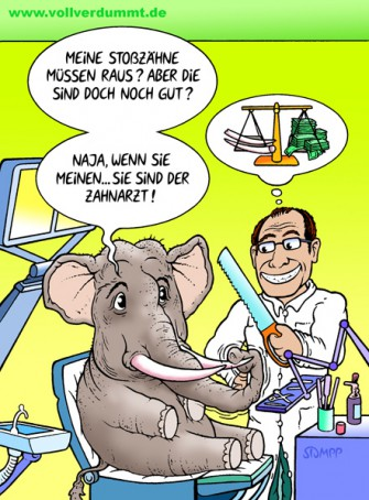 CARTOON Elefant beim Zahnarzt