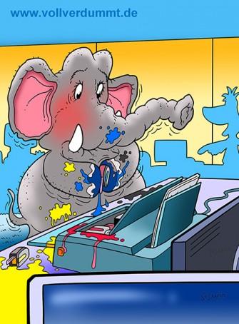 CARTOON Elefant im Büro