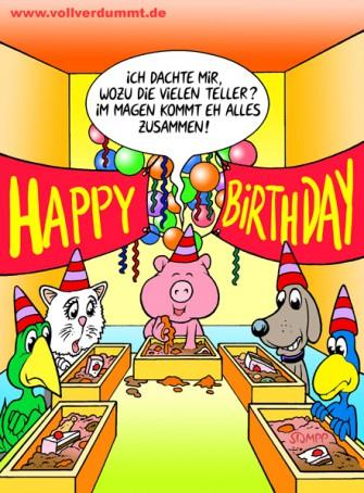 CARTOON Ferkel feiert Geburtstag