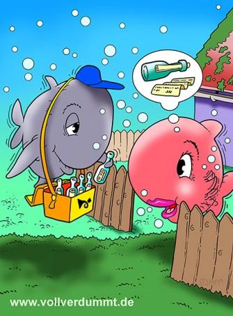 CARTOON Fische und Post