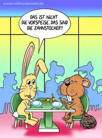 CARTOON Hase und Biber
