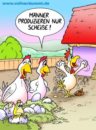 CARTOON Hühner und Hahn