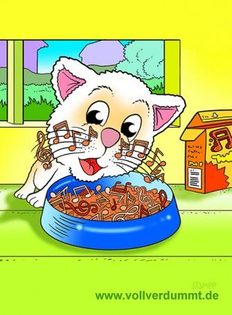 CARTOON Katze, Futter und Musik
