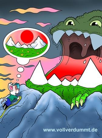 CARTOON Maus, Berge und Monster