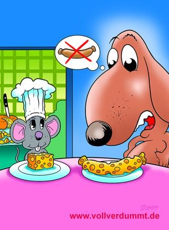 CARTOON Maus serviert Hund Käse