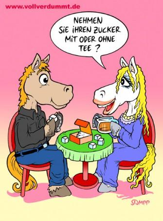 CARTOON Pferde trinken Tee
