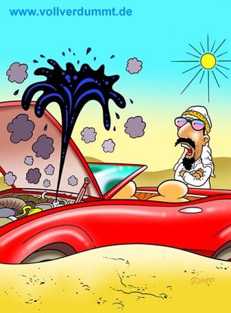CARTOON Scheich, Öl und Sportwagen