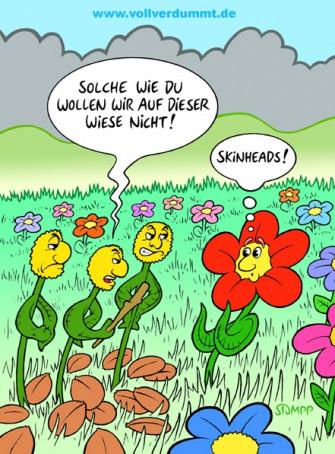 CARTOON Skinheads auf Blumenwiese