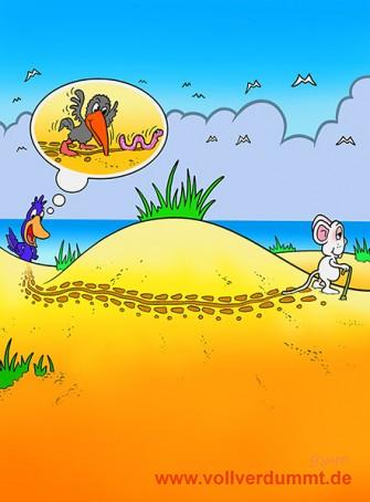 CARTOON Vogel und Maus am Strand